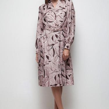 shirtwaist exaggerated collar dress pleated brown abstract floral print LARGE L by shoprabbithole