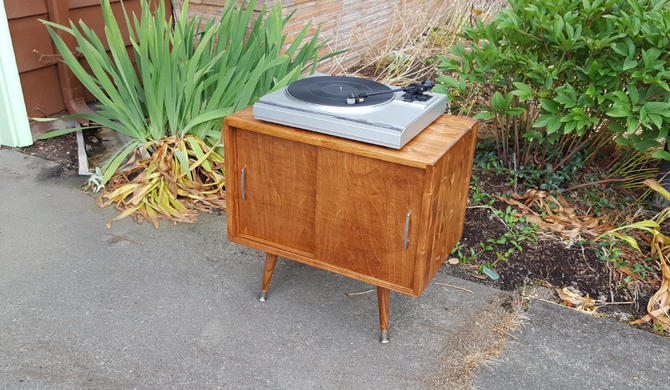 Mid Century Record Player Cabinet Record Console by OrWaDesigns
