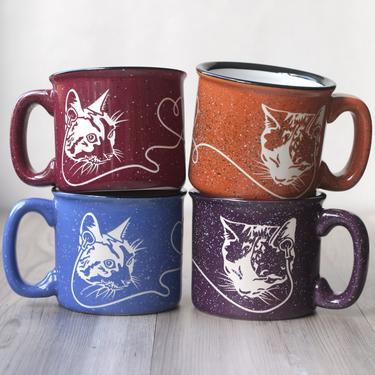 Hifi Love Cats Camp Mug - engraved ceramic headphone sharing kitty best friends by BreadandBadger