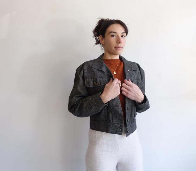 Vintage 80s Norma Kamali Cropped Denim Jacket/ 1980s Grey Cotton Jean Jacket/ Size Medium by bottleofbread