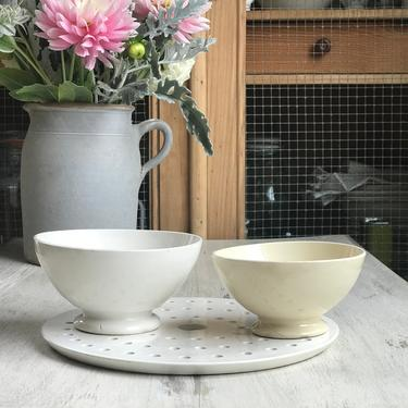 Lovely set of 2 old French ironstone cafe au lait bowl by Grainsacfrenchvintag