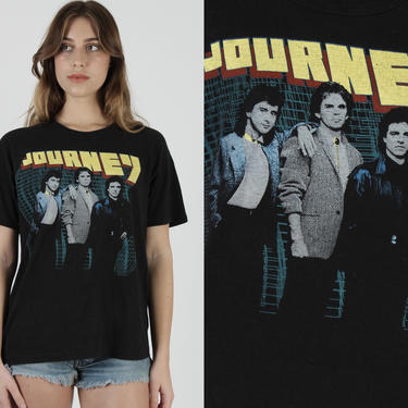 Journey Band T Shirt / 1984 Raised On Radio Tour Tee / Vintage 80s Concert Rock Band 50 50 Black T Shirt Large L by americanarchive