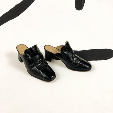 90s Stefani Black Croc Patent Leather Heeled Mules / Chunky Heel / Slip On / Minimal / Size 8 / 1990s / y2k / Square Toe / Goth / Clueless / by badatpettingcats