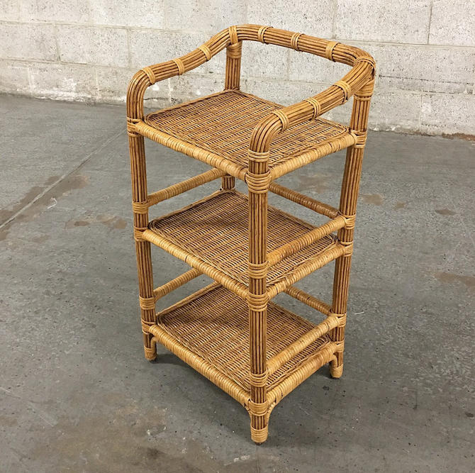 LOCAL PICKUP ONLY ———— Vintage Wicker Shelving Unit by RetrospectVintage215