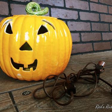 Vintage Ceramic Lighted Halloween Pumpkin Jack O Lantern by RedsRustyRelics