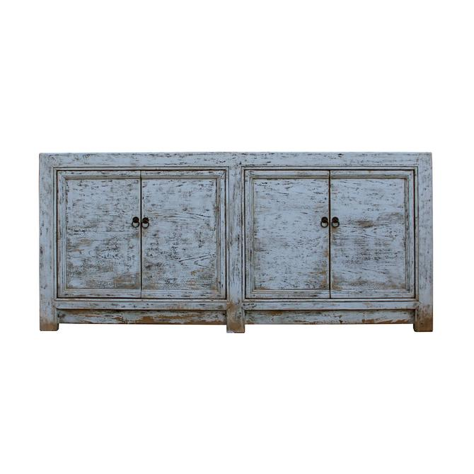 Chinese Distressed Rough Off White 4 Doors Sideboard Table Cabinet cs5367S