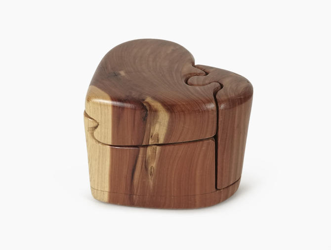 Craig Boland Jewelry Box Heart Shaped Wooden Puzzle Box Wood by VintageInquisitor