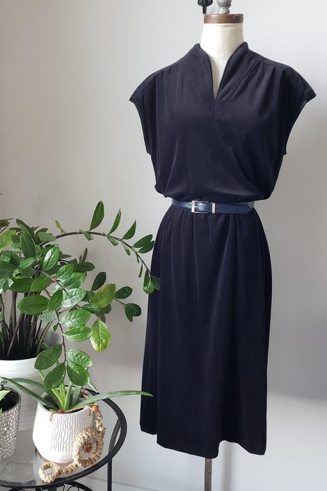 Vintage 70s Leslie Fay Black Dress | Velour Black Cap Sleeve Mandarin Collar Dress by LoveOnceAgain