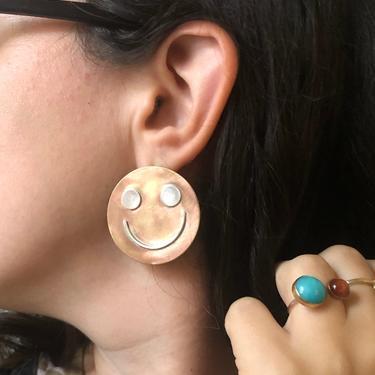 Giant Happy Face Studs in Brass and Sterling Silver Handmade Statement Earrings by RachelPfefferDesigns