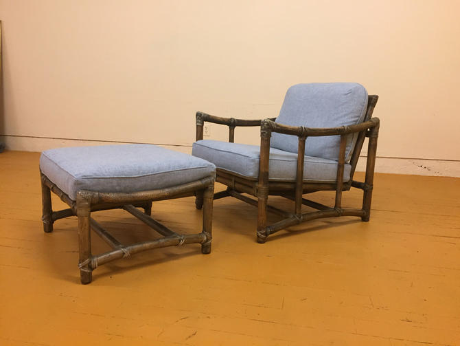 McGuire Vintage Lounge Chair and Matching Ottoman, New Upholstery by Vintagefurnitureetc