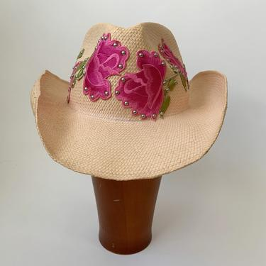 Studded Floral Embroidery Y2K Cowboy Hat