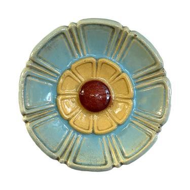 1920s Round Colorful Polychrome Terra Cotta Flower Art