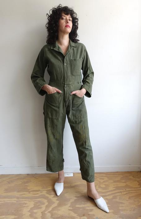 Vintage 70s Green Army Coveralls/ 1970s Distressed Fitted Coveralls/ Green Cotton Sateen Military Suit/ Small by bottleofbread