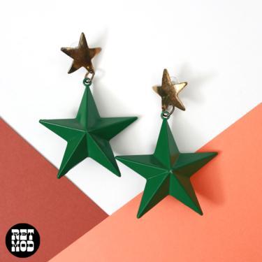 WOW Vintage 70s 80s Big Green Star Drop Earrings by RETMOD