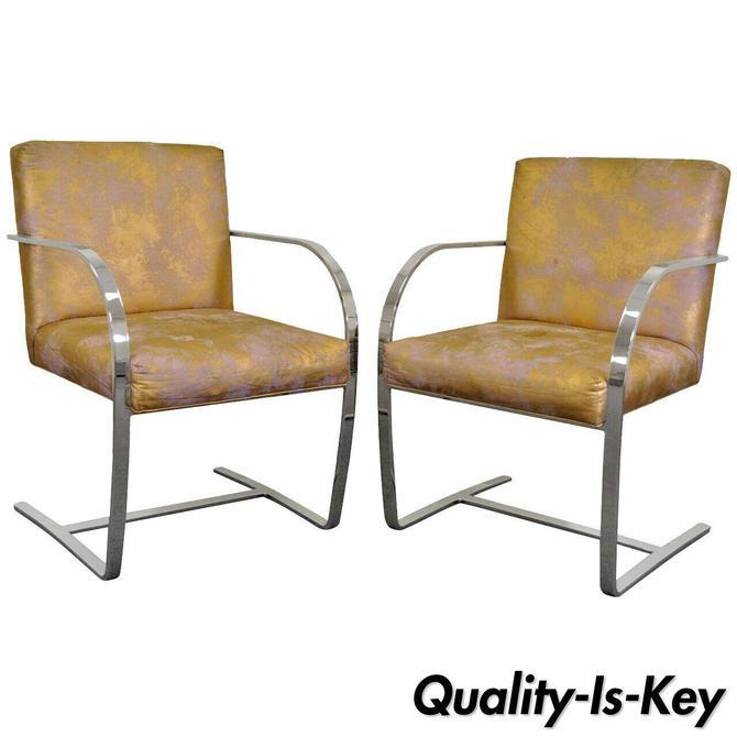 Pair of Mid Century Modern Cy Mann Flatbar Chrome Brno Style Cantilever Chairs B