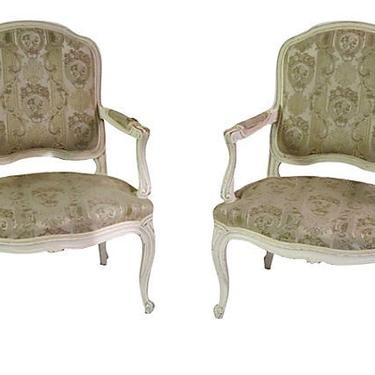 French Louis Vintage Arm Chairs, French Shabby Chic Chairs, French Fauteuils, Pair by BostonVintageStudio
