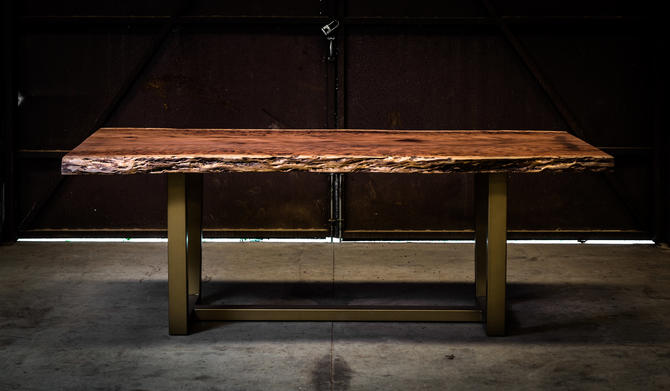 Burled Redwood Table on Gold Legs by KirkpatrickDesigns