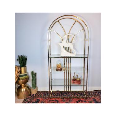 FREE SHIPPING! Vintage Brass Glass Shelf | Hollywood Regency Arched Gold Etagere | Mcm Dome Bookshelf | Boho Shelving Display Case Hutch by SavageCactusCo