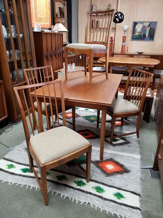 Set of four Danish Modern makore wood dining chairs