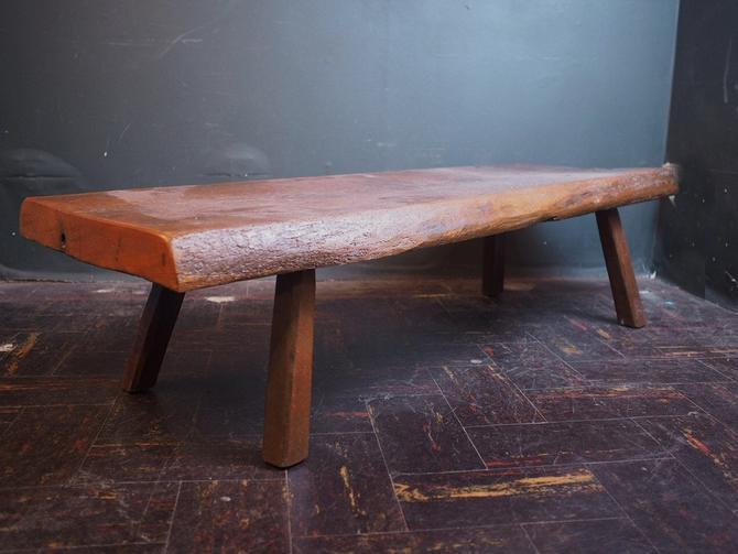 Primitive 1800s Natural Wood Bench by sevenbc