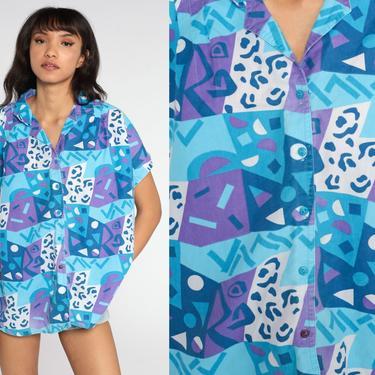 Geometric Button Up Shirt 80s Blue Top Blouse Purple CUFFED Short Sleeve Vintage Cotton Geek Hipster Retro Plus Size xxxl 3xl by ShopExile