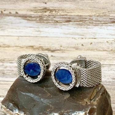 Vintage Cuff Links, Blue Agate, Wrap Around, Silver Tone, Cufflinks, Natural Stone, 60s 70s by GabAboutVintage