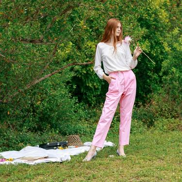 80s Light Pastel Pink Trousers Vintage Straight Leg Classic Pants by AppleBranchesVintage