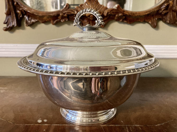 Silver Covered Round Tureen or Serving Dish by RavenPearVintage