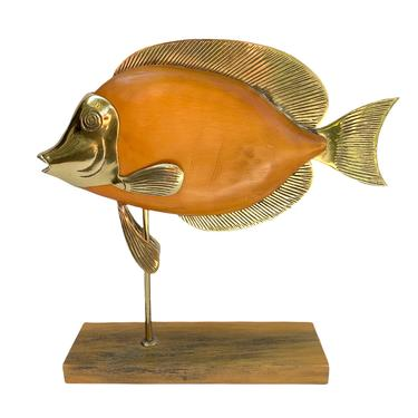 Vintage Brass and Wood Fish Sculpture by TheModernHistoric