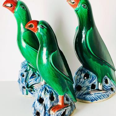 Chinese Export Porcelain Glazed Parrots, Set of 3