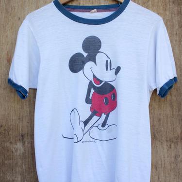 Vtg 80s White and Blue Mickey Mouse Ringer T-Shirt / Soft Walt Disney Tee / S/M by AmericanDrifter