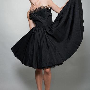 party dress black, strapless dress, taffeta dress, full skirt dress, vintage 80s S M Small Medium by shoprabbithole