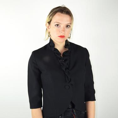 Vintage 50s 60s Jacket / 1960s Vintage Black Jacket Blazer / Ruffle Cropped Mod Design Small / 50s Crepe Wool Suit Jacket / Pin Up Pinup VLV by ErraticStaticVintage