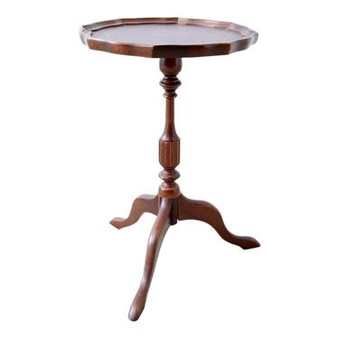 Mahogany Pie Crust Tooled Leather Tripod Side Table by ErinLaneEstate