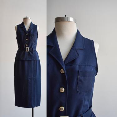 90s Navy Blue 2pc Skirt Set by milkandice