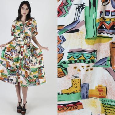 Vintage 80s Spanish Casita Dress / Ethnic Vacation Dress / Bright Graphic Print Full Skirt Pockets Belted / White Cotton Midi Mini Dress by americanarchive