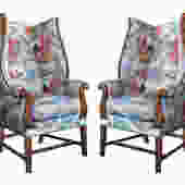Inviting Pair of English-Country Style Wing Chairs