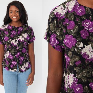 90s Floral Blouse Purple Black Button Up Shirt Rayon 80s Short Sleeve Top Grunge Boho 1990s Vintage Bohemian Medium by ShopExile