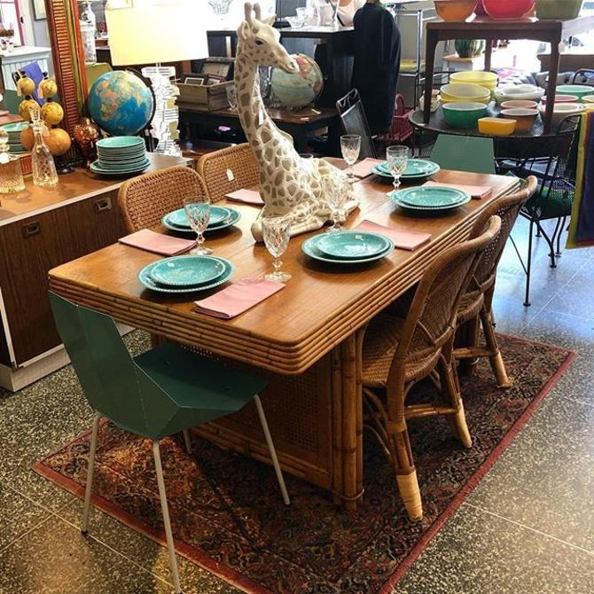 Bamboo dining table! $595! Rattan chairs - $22! Blue modern metal dining chairs - $55!