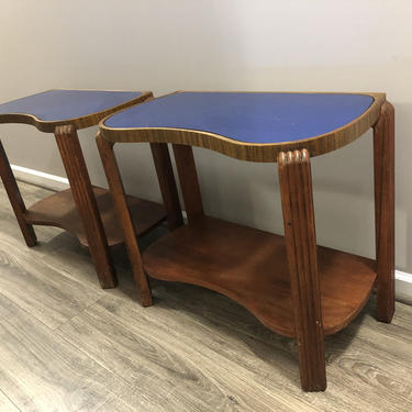 Art Deco end tables with cobalt mirror tops- A Pair by MadModWorldVintage