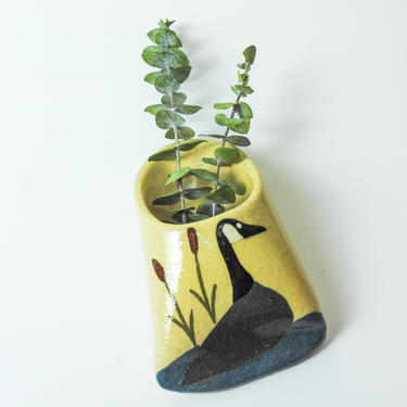 Goose Ceramic Wall Pocket / Canada goose Wall Art by blackwellhabitat