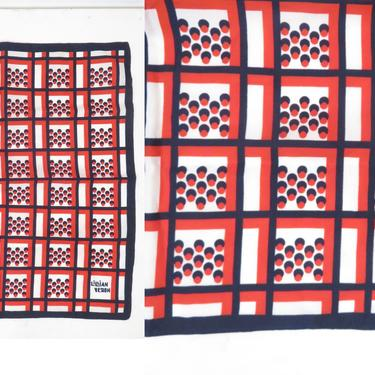 Vintage 60s Mod Op Art Red White And Blue Square Scarf Lillian Vernon Made In Italy by VelvetCastleVintage