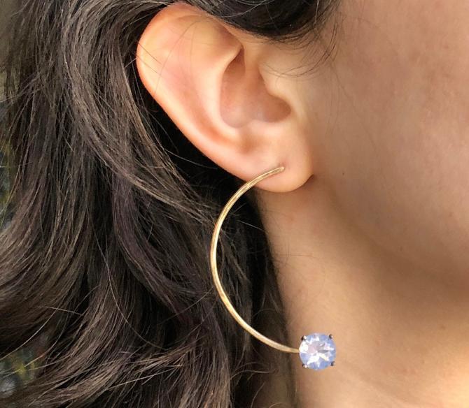 Lavender Moon Quartz Half Hoops statement studs semi circle geometric earrings by RachelPfefferDesigns
