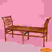 Fretwork Rattan Bench