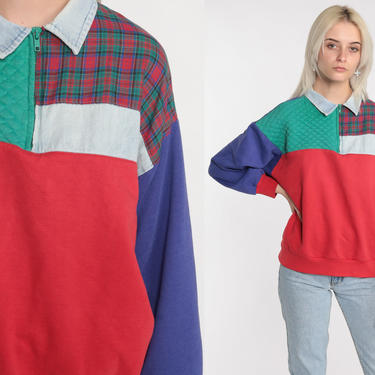 Color Block Sweatshirt Checkered Plaid 80s Sweatshirt Patchwork Quilted Sweater Retro Slouchy Zip Up Sweatshirt 90s Vintage Large by ShopExile