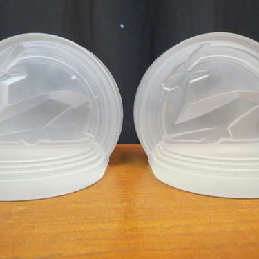 Art Deco pair of Edwin Fuerst glass bookends