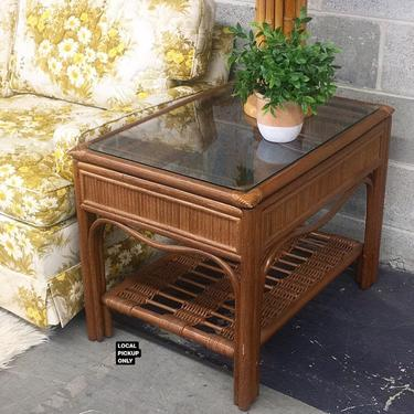 LOCAL PICKUP ONLY ———— Vintage Rattan End Table by RetrospectVintage215