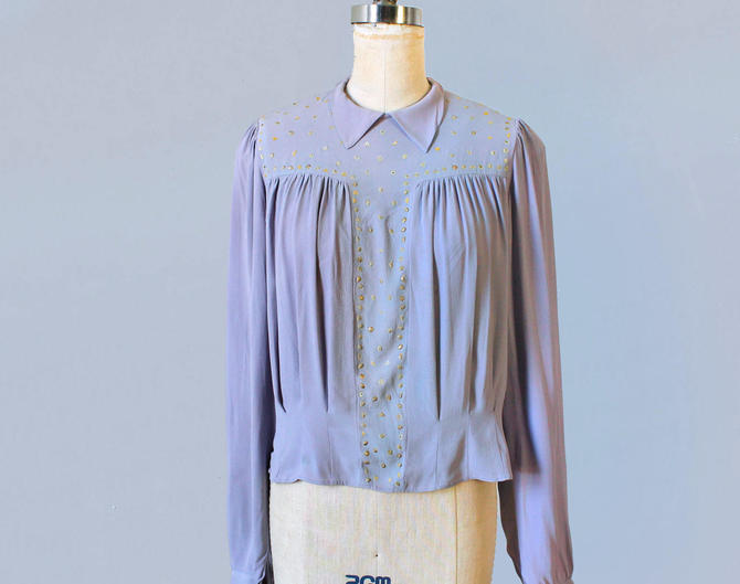 1930s Blouse / 30s Lilac Crepe Blouse with Gold Fleck Accents by GuermantesVintage