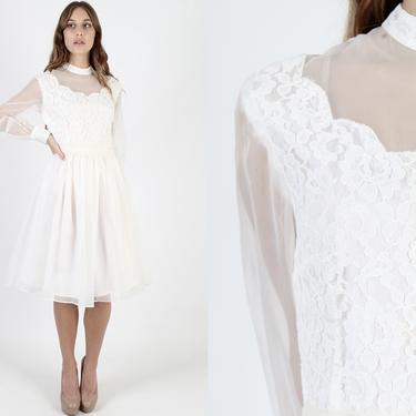 Vintage 70s Off White Chiffon Wedding Dress 1970s Bridal Ceremony Dress Knee Length Solid Simple Floral Lace Formal Outfit Mini Dress by americanarchive