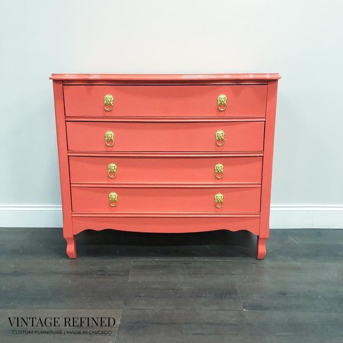 AVAILABLE: Coral Lacquer Dresser / Bachelor Chest by VintageRefinedDecor